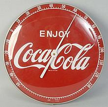 Coca-Cola Clock Thermometer.
