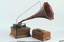 Edison Fire Side Phonograph with Red Horn.