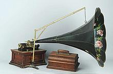 Wood Graphophone with Horn.