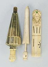 Lot of 3: Figural Sewing Needle Cases.