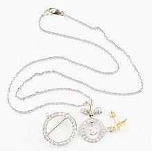 14K YG Earrings, Necklace & Pin Set.