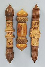 Lot of 3: Carved Figural Sewing Needle Cases.