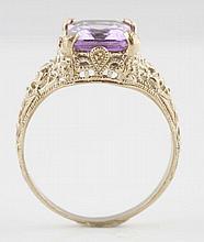 14K White Gold Filigree Ring.
