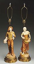 Pair of Ceramic Royal Dux Lamps.