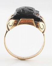 10K Yellow Gold Black Onyx Cameo Ring.