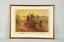 Advertising Horse Drawn Fire Engine Print.
