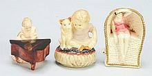 Lot of 3: Celluloid Figural Sewing Tape Measures.