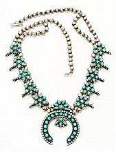 Native American Indian Squash Blossom Necklace.