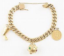 14K YG Charm Bracelet.