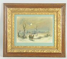 Framed Print of Sleigh Scene.