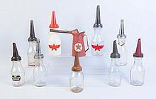 Lot of 9: Assorted Glass/Metal Bottles.