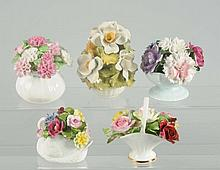 Lot of 5: Bone China Floral Bouquets.