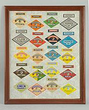 Framed Variety of Pepper Soda Labels.