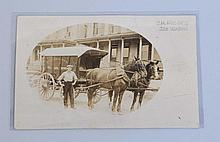 Real Photo Postcard of Horse-Drawn Ice Wagon.