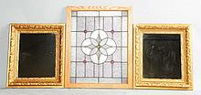 Lot of 2: Mirrors & Stained Glass Window.