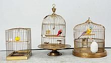 Lot of 3: Brass Bird Cages.
