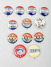 Lot of 12: 20th Century Political Buttons.