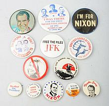 Lot of 13: 20th Century Political Buttons.