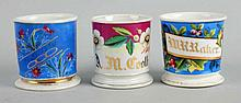 Lot of 3: Full-Wrap Floral Shaving Mugs.