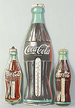 Lot of 3: Tin Coca-Cola Bottle Thermometers.
