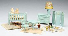 Lot of 9: Tynietoy Doll House Furniture.