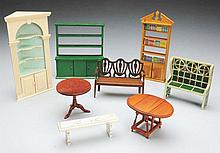 Lot of 8: Tynietoy Doll House Furniture.