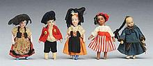 Lot of 5: Small French Dolls.