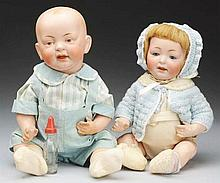 Lot of 2: German Bisque Baby Dolls.