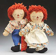 Pair of Asleep/Awake Raggedy Ann & Andy Dolls