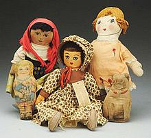 Lot of 5: Cloth Dolls.