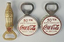 Lot of 3: Coca-Cola Bottle Openers 1940s-50s.