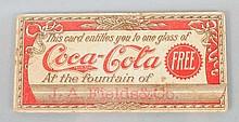 1901 Coca-Cola Free Drink Coupon.