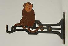 Cast Iron Sitting Monkey Plant or Bird Cage Hook.