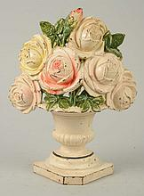 Cast Iron Roses in Urn Flower Doorstop.