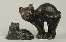 Lot of 2: Cast Iron Cat Doorstop, Paperweight.