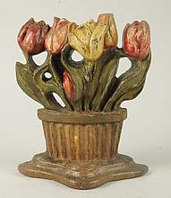 Cast Iron Tulips Flower in Basket Doorstop.