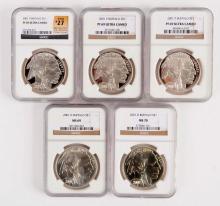 Lot Of 5: Buffalo Silver Commemorative Dollars.