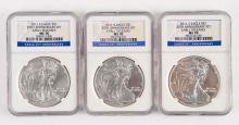 Lot Of 3: Silver Eagle Early Release Blue Labels.
