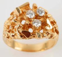 Man's Gold Nugget Style Diamond Ring.