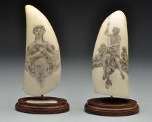 Lot of 2: Whale Tooth Scrimshaw Pieces.