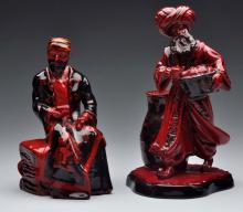 Lot Of 2: Royal Doulton Red Flambe Merchants.