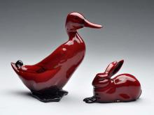 Royal Doulton Red Flambe Duck & Rabbit Figures.
