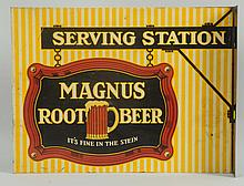 Scarce Magnus Root Beer Tin Flange Sign.