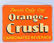 1940's Embossed Tin Orange Crush Sign.