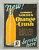 1929 Orange Crush Cardboard Sign.