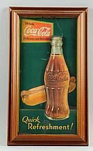 Framed 1931 Coca-Cola Hot Dog Sign.