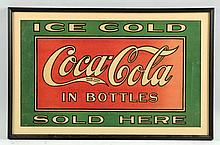 Framed 1920s Heavy Paper Coca-Cola Sign.