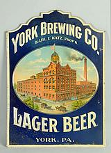 York Brewing Co. Tin Sign.