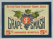 Tin 1920s Grape Smash Sign.
