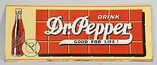Tin Dr. Pepper Advertising Sign.